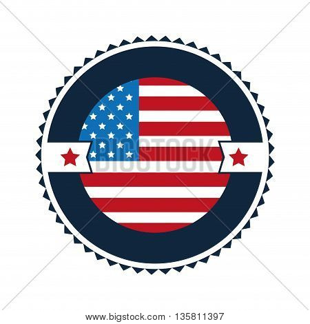 flat design united states flag round badge with elaborate frame vector illustration