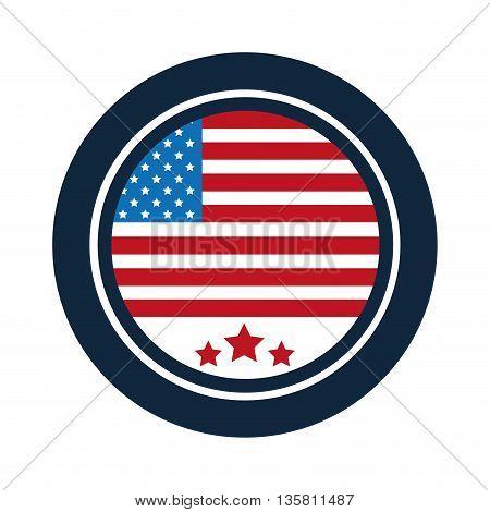flat design united states flag round badge with simple frame vector illustration