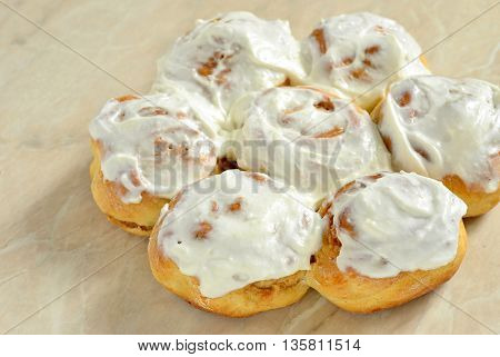 Fresh homemade cinnamon rolls, bun, selective focus