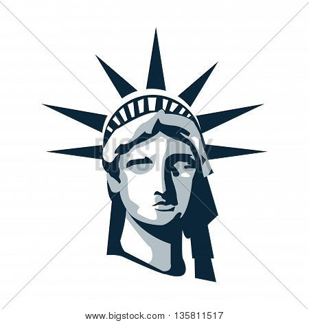 simple flat design blue scale statue of liberty vector illustration