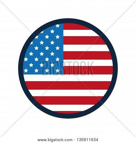 flat design united states flag round badge vector illustration