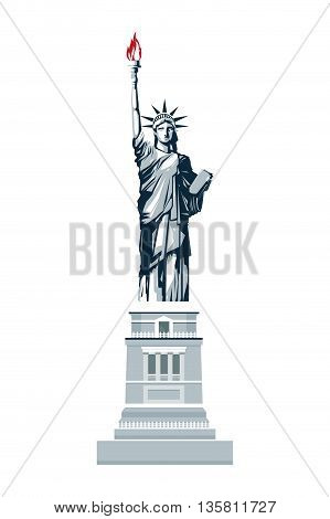 simple flat design blue scale full body statue of liberty vector illustration
