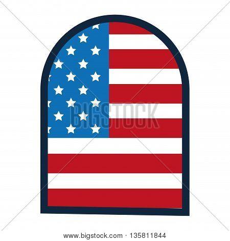 flat design united states flag arched badge vector illustration
