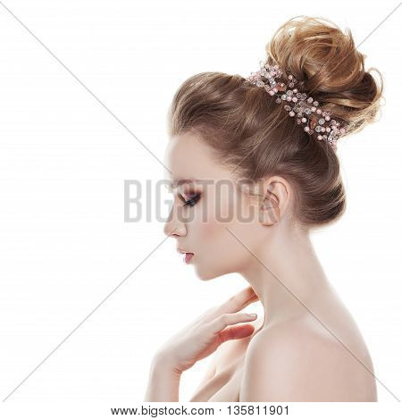 Woman with Bridal Hairstyle Isolated on White Background. Profile