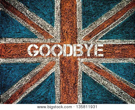 BREXIT concept over British Union Jack flag GOODBYE message