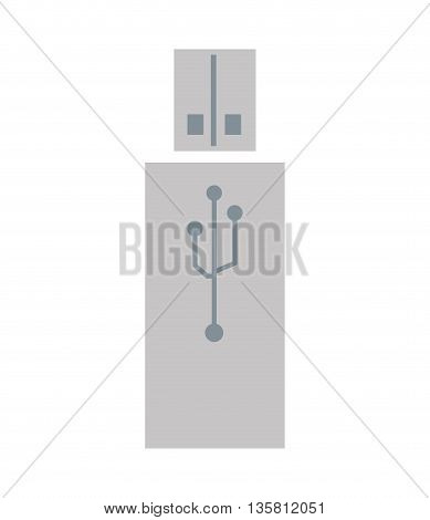 grey flat design of usb drive icon vector illustration