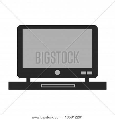 black and grey flat design of computer monitor on desk icon vector illustration