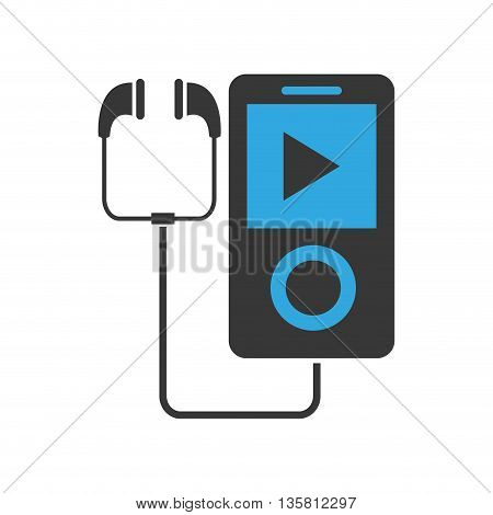 flat design portable music device with earphones vector illustration