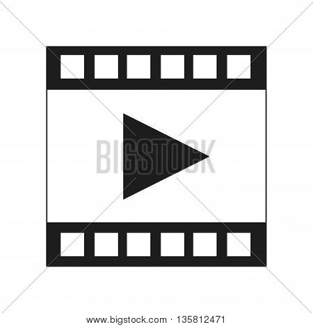 black and white film strip with play vector illustration