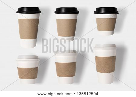 Design Concept Of Mockup Coffee Cup Set On White Background. Copy Space For Text And Logo. Clipping