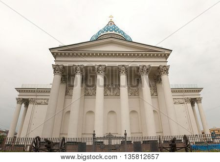 Colonnade of the Trinity Cathedral in St. Petersburg.