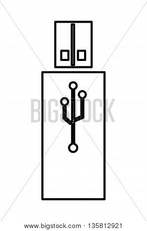 simple black line usb drive icon vector illustration