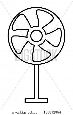 simple black line fan icon vector illustration