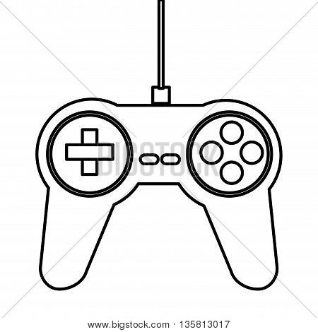 simple black line game controller vector illustration