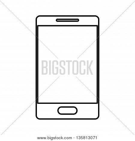 simple black line cellphone with button vector illustration
