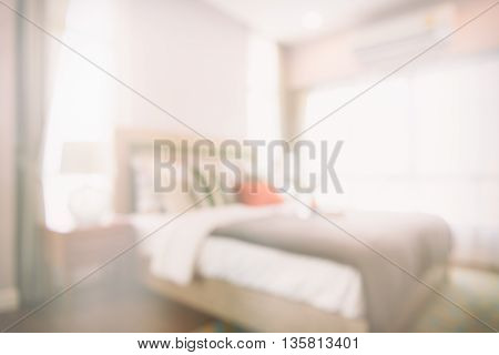 blur image of a modern bedroom design