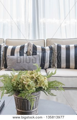 White Elegance Sofa With Black And White Pillows In Luxury Living Room