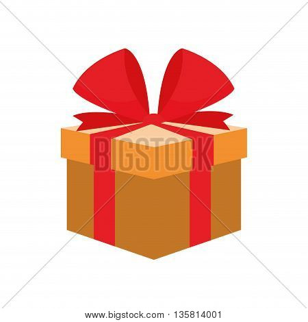 flat design yellow gift box with red bow on top vector illustration
