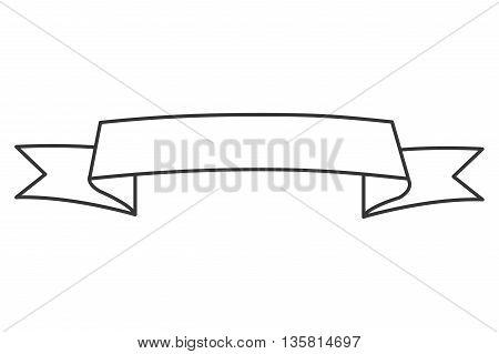 simple black line horizontal banner curved upwards icon vector illustration