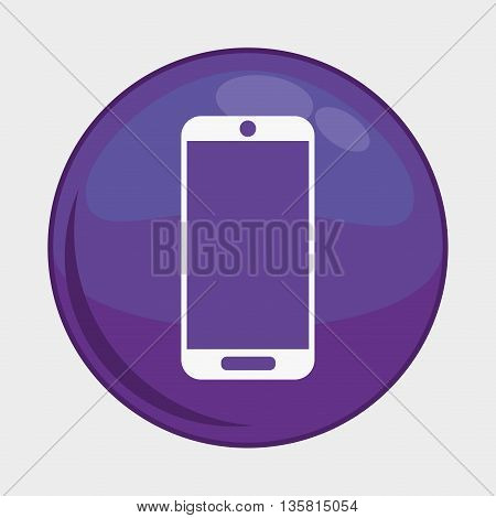 Social Media button represented by smartphone multimedia app . Colorfull and isolated illustration