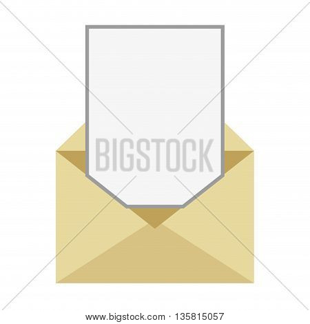 flat design open envelope with blank paper coming out vector illustration