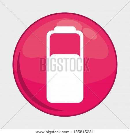 Social Media button represented by battery multimedia app . Colorfull and isolated illustration