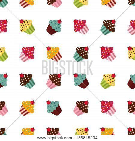 Muffins pattern seamless. Cupcakes pattern seamless. Food pattern seamless. Cute vector illustration on white background
