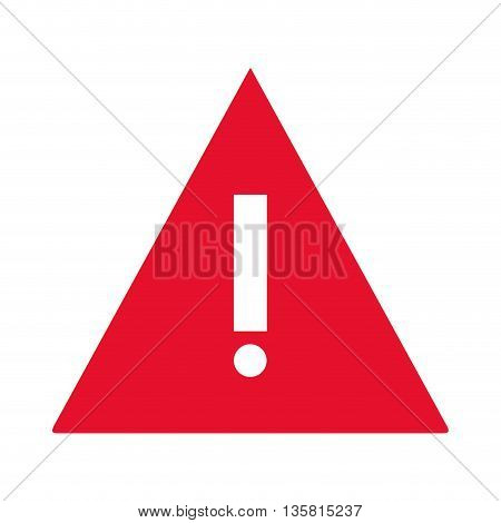simple flat design red triangle with exclamation mark vector illustration