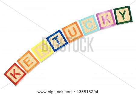 A collection of wooden block letters spelling Kentucky over a white background