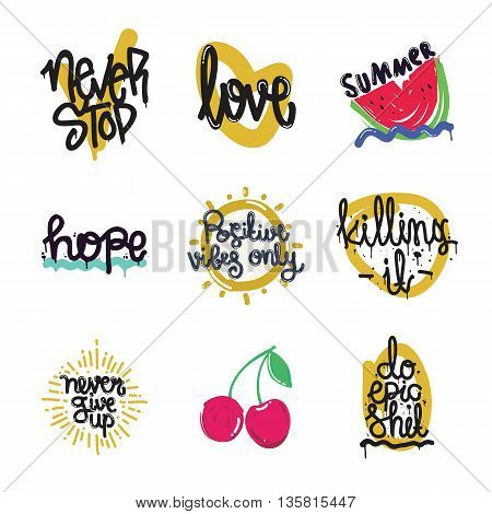 Color Inspirational Vector Illustration Set, Motivational Quotes