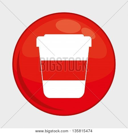 Social Media button represented by coffee mug multimedia app . Colorfull and isolated illustration
