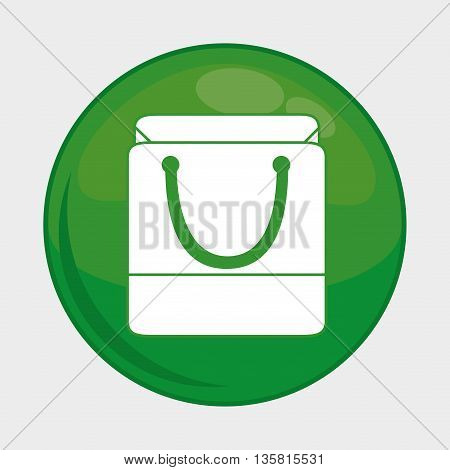 Social Media button represented by shopping bag multimedia app . Colorfull and isolated illustration