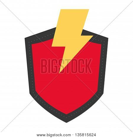 simple flat design of red shield with yellow lightning vector illustration