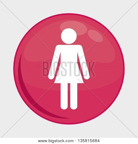 Social Media button represented by woman person multimedia app . Colorfull and isolated illustration