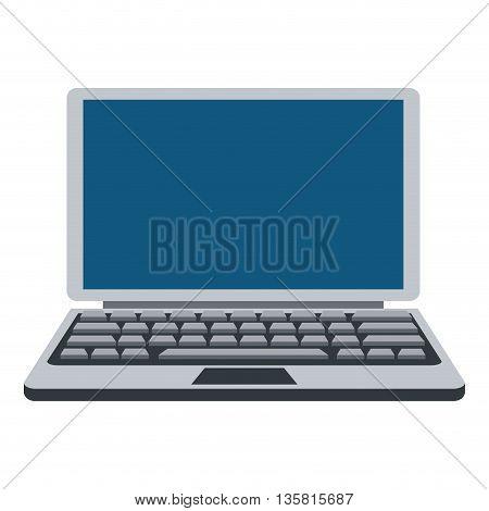 flat design of blue grey laptop icon vector illustration