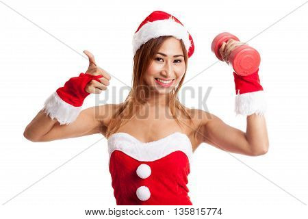 Asian Christmas Girl Thumbs Up With Santa Claus Clothes And Red Dumbbell