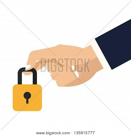 simple flat design hand holding closed padlock with keyhole icon vector illustration