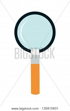 flat design of magnifying glass with orange handle vector illustration