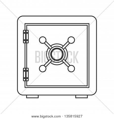 simple black line safe box icon vector illustration