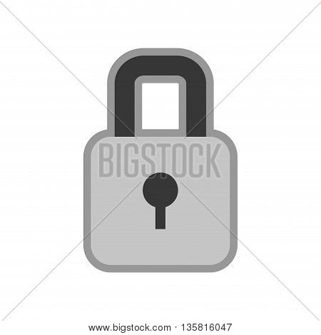 simple black line closed padlock with keyhole icon vector illustration