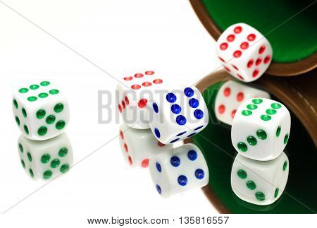 several dice on the table. a beautiful picture of startling clarity