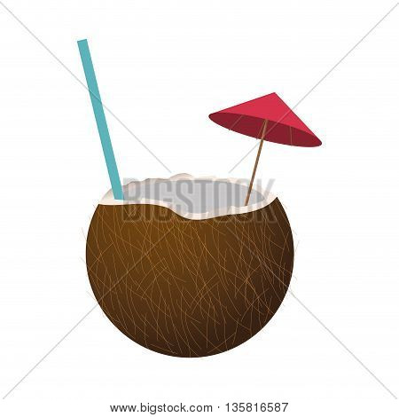 flat design tropical coconut cocktail with straw and umbrella vector illustration