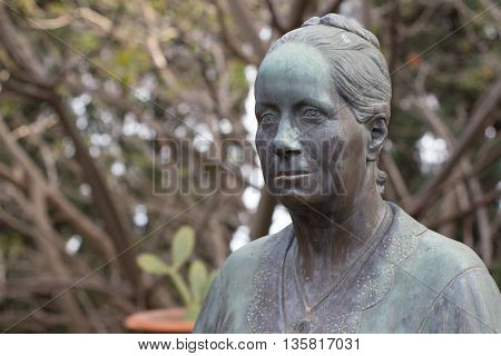 Detail of the bust of Lady Florence Trevelyan in Taormina park Sicily Italy.