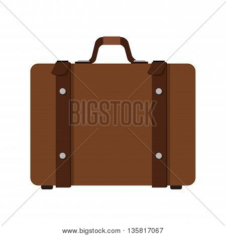 flat design brown suitcase with straps and handle icon vector illustration