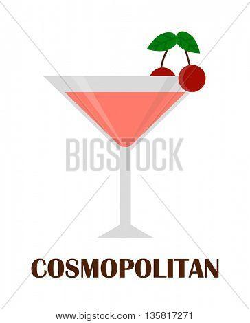 Cosmopolitan cocktail vector illustration.