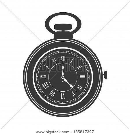 grey flat design pocket watch icon vector illustration