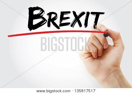 Hand writing Brexit (withdrawal of United Kingdom from the European Union) with marker, social concept background