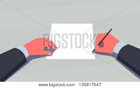 Man holding pen and sits in front of a blank sheet of paper. Subjective view perspective. Making decision concept. Vintage style illustration.