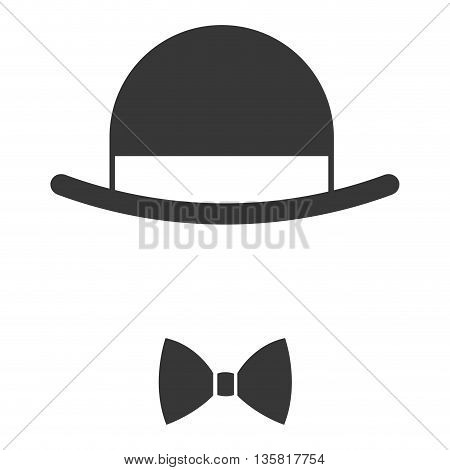 simple flat design vintage hat over bowtie icon vector illustration