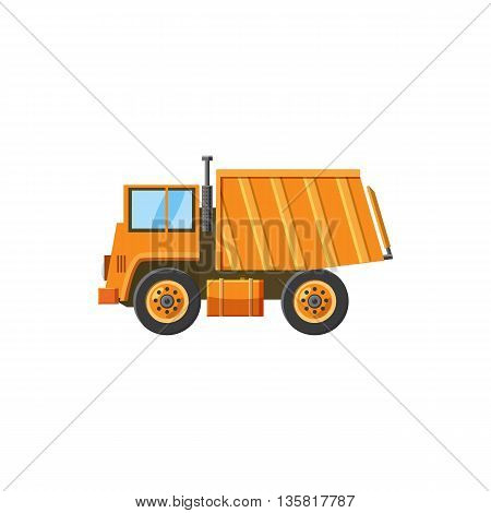 Orange dump truck icon in cartoon style on a white background